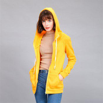 Women's Solid Color All Match Slim Hoodie - YELLOW S
