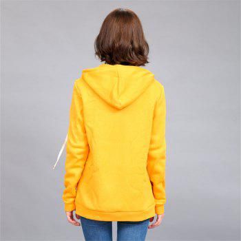 Women's Solid Color All Match Slim Hoodie - YELLOW XL
