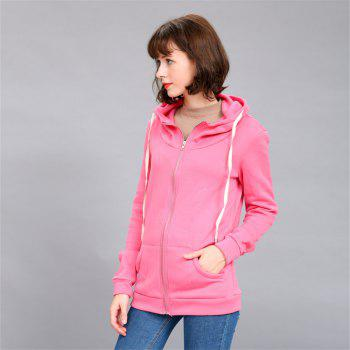Women's Solid Color All Match Slim Hoodie - ROSE RED S