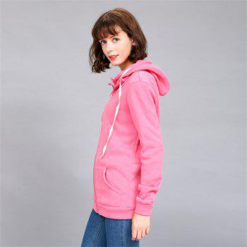 Women's Solid Color All Match Slim Hoodie - ROSE RED L