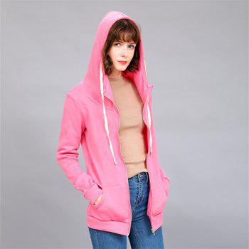Women's Solid Color All Match Slim Hoodie - ROSE RED XL