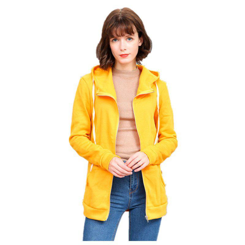 Chandail à capuchon Slim Color All Match pour Femme - Jaune 3XL