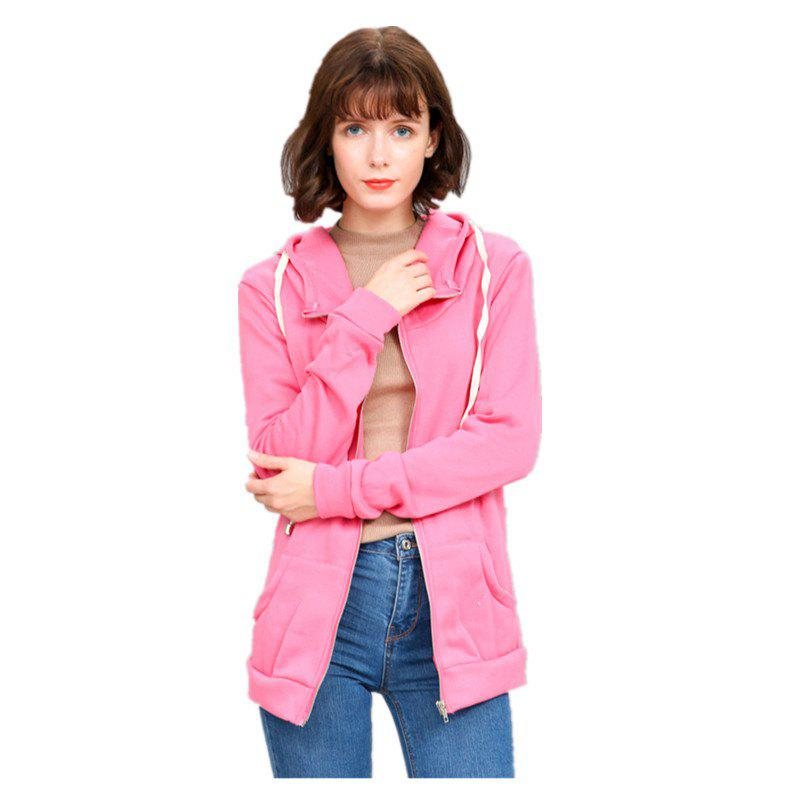 Chandail à capuchon Slim Color All Match pour Femme - rose M