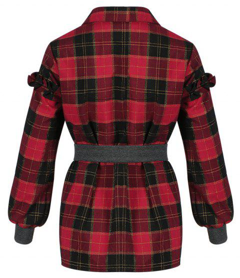 Women's Shirt Turn Down Collar Long Sleeve Plaid Pattern Casual Top - CHECKED M
