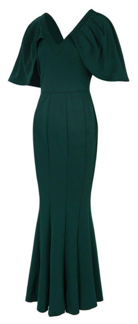 Women's Kaftan Solid Color V Neck Maxi Long Dress - GREEN 3XL