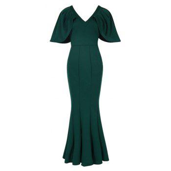 Women's Kaftan Solid Color V Neck Maxi Long Dress - GREEN L
