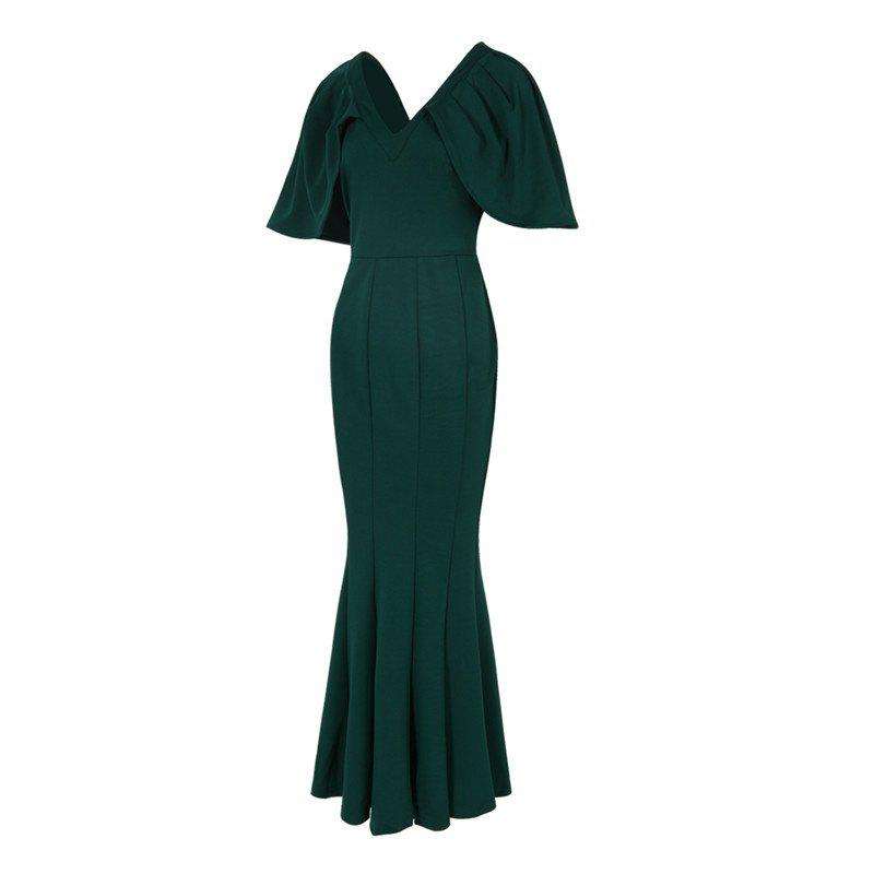 Women's Kaftan Solid Color V Neck Maxi Long Dress - GREEN XL