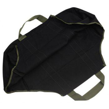 Collapsible Dust-Proof Firewood Log Carrier Wood Bag With Soft Handles - BLACK