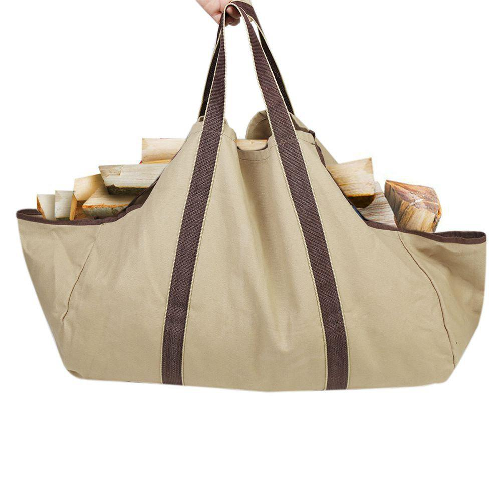 Collapsible Dust-Proof Firewood Log Carrier Wood Bag With Soft Handles - KHAKI