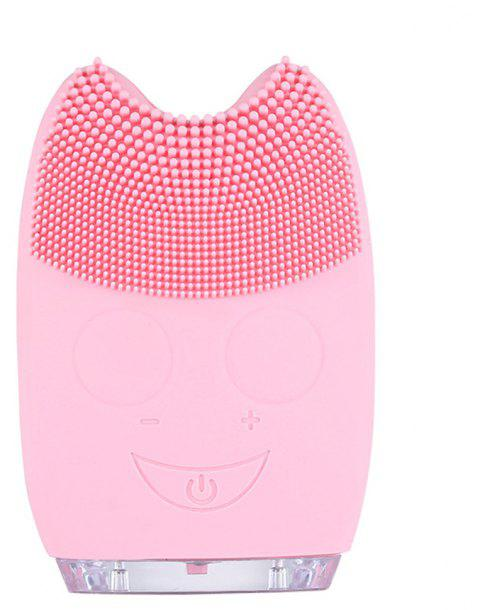 Silicone Facial Cleansing Brush Blackheads Remove Beauty Tool Electric Pink Clean Device - PINK