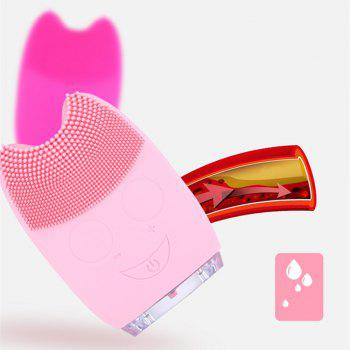 Silicone Facial Cleansing Brush Blackheads Remove Beauty Tool Electric Pink Clean Device - ROSE RED