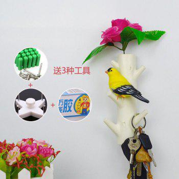 Creative Bird and Branches Design Hooks Wall Mounted Hanger (5 hooks) for Cloth Coat Scarf Towel Bag Key Wall Hooks Rack - WHITE