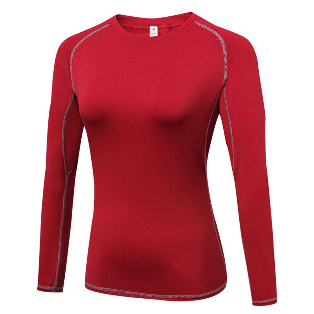 Women's Skinny  Sports Fitness Yoga Training Long Sleeve T-Shirt - RED 2XL