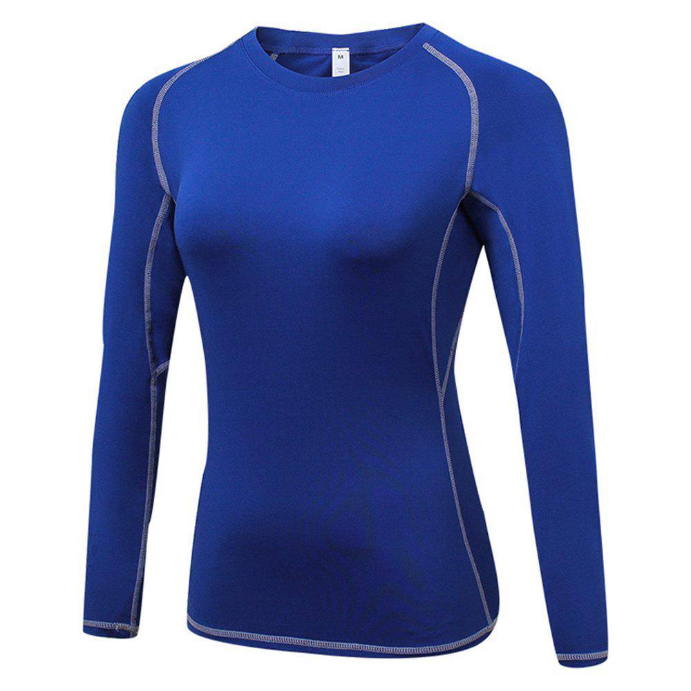 Women's Skinny  Sports Fitness Yoga Training Long Sleeve T-Shirt - BLUE 2XL