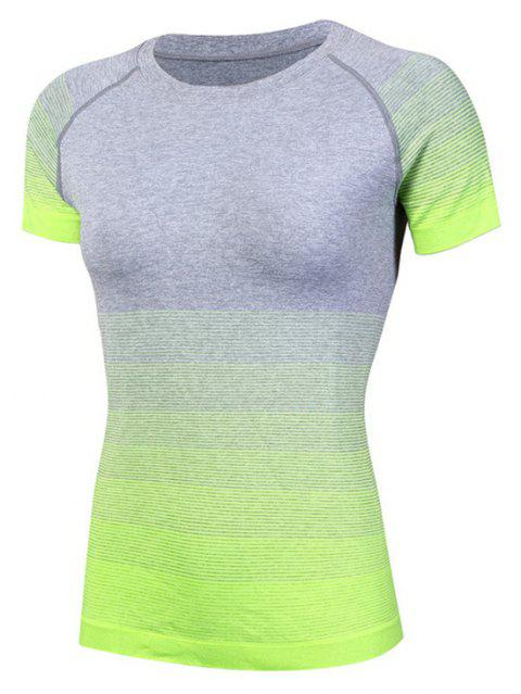 Gradient Color Ladies Quick-Drying Fitness  Women's Short-Sleeved T-Shirt - GREEN L