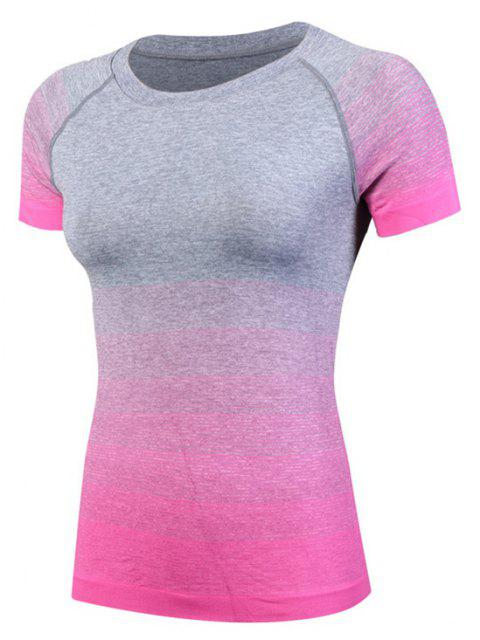 Gradient Color Ladies Quick-Drying Fitness  Women's Short-Sleeved T-Shirt - ROSE RED L