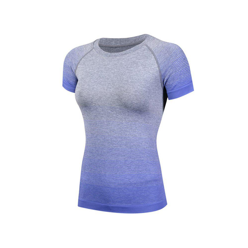 Gradient Color Ladies Quick-Drying Fitness  Women's Short-Sleeved T-Shirt - BLUE S