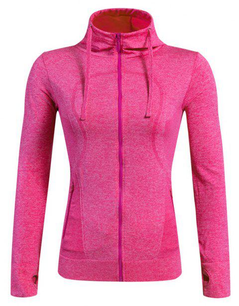 Ladies Training Zip Fitness Stretch Quick-dry Jackets - ROSE RED L