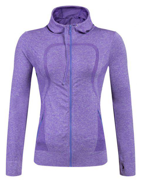 Ladies Training Zip Fitness Stretch Quick-dry Jackets - PURPLE S