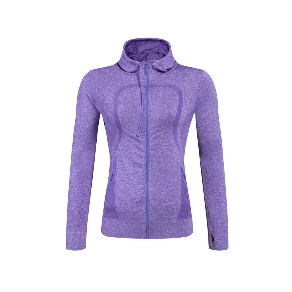 Ladies Training Zip Fitness Stretch Quick-dry Jackets - PURPLE L
