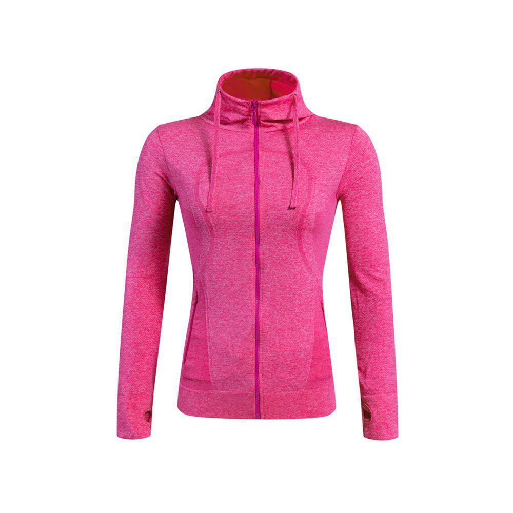 Ladies Training Zip Fitness Stretch Quick-dry Jackets - ROSE RED M