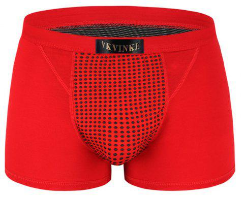 Penis Enlargement U Convex Boxer Trunk Magnetic Therapy and Health Protection Underwear - RED 2XL