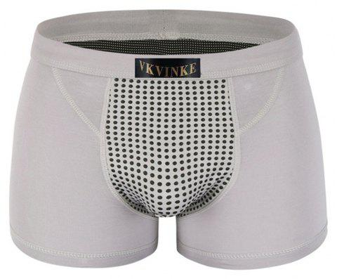 Penis Enlargement U Convex Boxer Trunk Magnetic Therapy and Health Protection Underwear - GREY 2XL