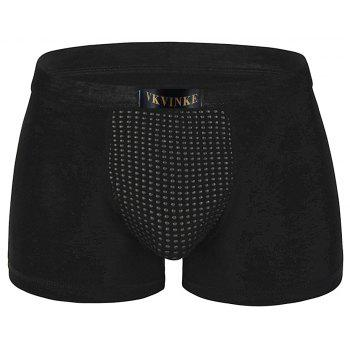 Penis Enlargement U Convex Boxer Trunk Magnetic Therapy and Health Protection Underwear - BLACK BLACK