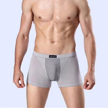Penis Enlargement U Convex Boxer Trunk Magnetic Therapy and Health Protection Underwear - GREY GREY