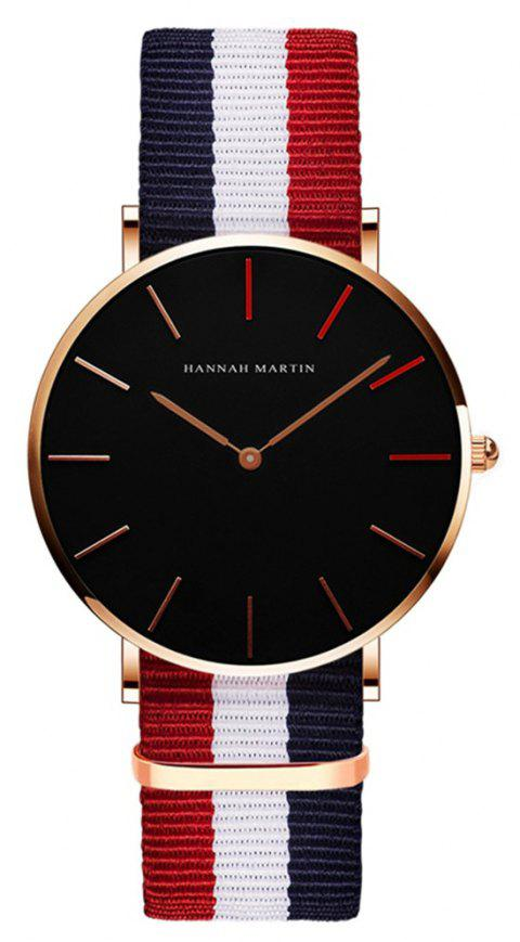 HANNAH MARTH 1318 Waterproof Quartz Watch - BLUE / WHITE / RED