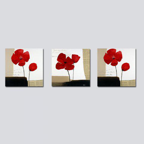 QiaoJiaHuaYuan No Frame Canvas Living Room Sofa Background Triplet Abstract red Flower Decoration Hanging Picture - COLORMIX