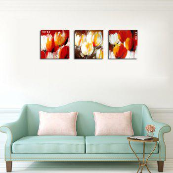 QiaoJiaHuaYuan No Frame Canvas Living Room Sofa Background Triplet Picture Plant Abstract Flower Decoration Hanging Pict - COLORMIX