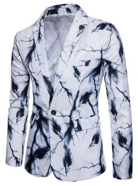 Men's Casual Suits Long Sleeve Turndown Collar Leaf Print Blazer - WHITE L