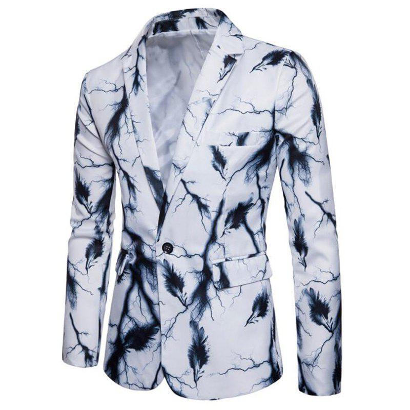 Men's Casual Suits Long Sleeve Turndown Collar Leaf Print Blazer - WHITE XL