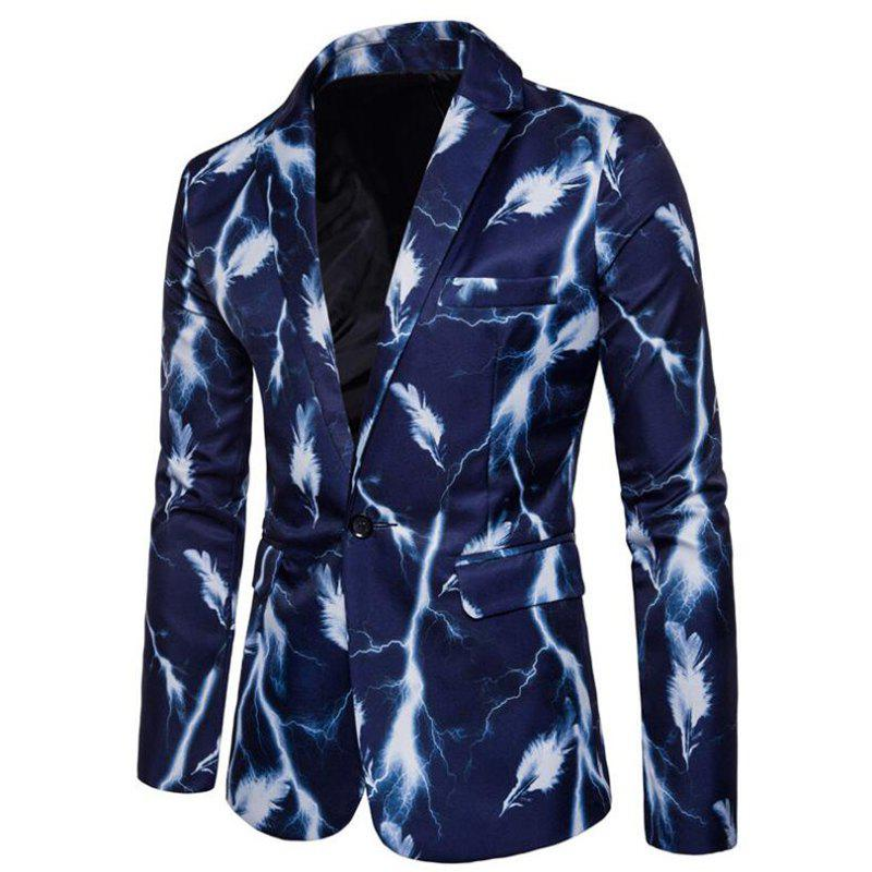 Men's Casual Suits Long Sleeve Turndown Collar Leaf Print Blazer - BLUE 3XL