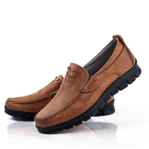 4c47030c1ca7 Fashion Men s Winter Leather Casual Shoes Breathable Antiskid Loafers  Moccasins - CAMEL BROWN 43