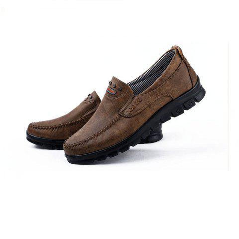 6e49a694fd51 Fashion Men s Winter Leather Casual Shoes Breathable Antiskid Loafers  Moccasins - COFFEE 38