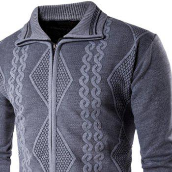 2018 Spring and Autumn  Slim Lapel  Leisure Sports Cardigan - GRAY XL