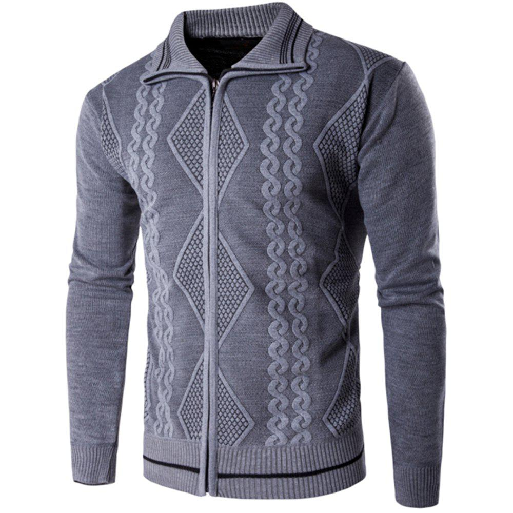 2018 Spring and Autumn  Slim Lapel  Leisure Sports Cardigan - GRAY L