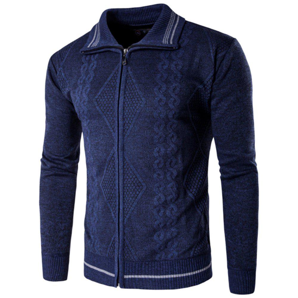 2018 Spring and Autumn  Slim Lapel  Leisure Sports Cardigan - CADETBLUE 2XL