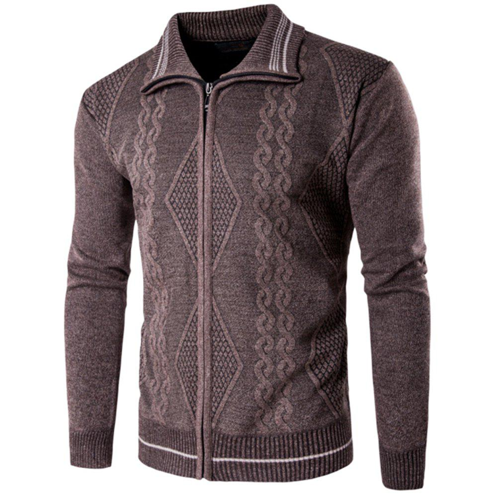 2018 Spring and Autumn  Slim Lapel  Leisure Sports Cardigan - MOCHA 2XL