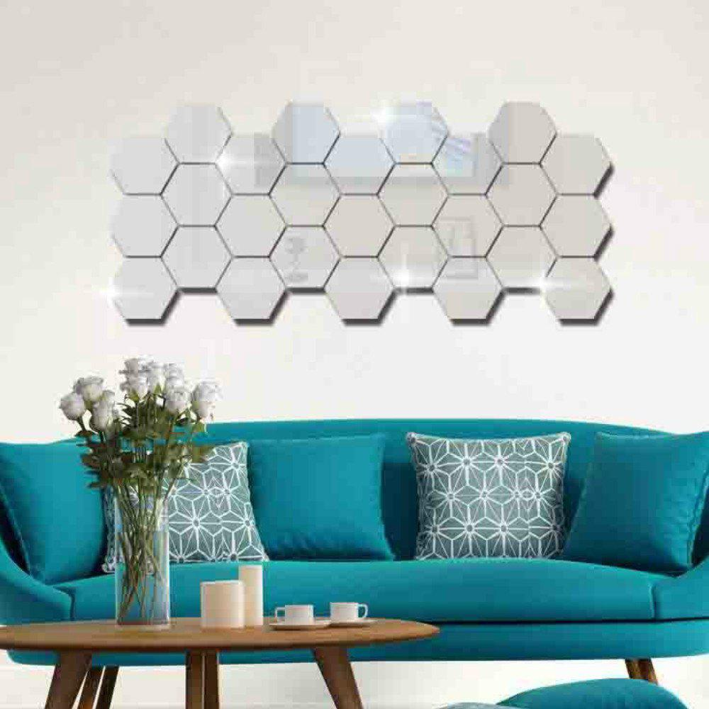 12 Pcs/Set Hexagon Mirror DIY Art Wall Home Decor Living Room Mirrored Decorative Sticker modern 6w 24cm long linear aluminum lampshade led bathroom mirror light home decorative lamp illumination furniture wall mounted