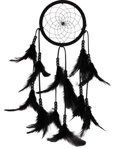Nouveau Feather Crafts Dream Catcher vent carillons perles à la main pour Tenture murale voiture décor à la maison - Noir