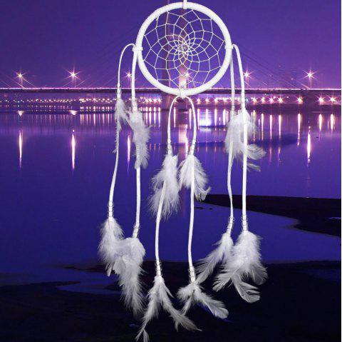 Nouveau Feather Crafts Dream Catcher vent carillons perles à la main pour Tenture murale voiture décor à la maison - Blanc