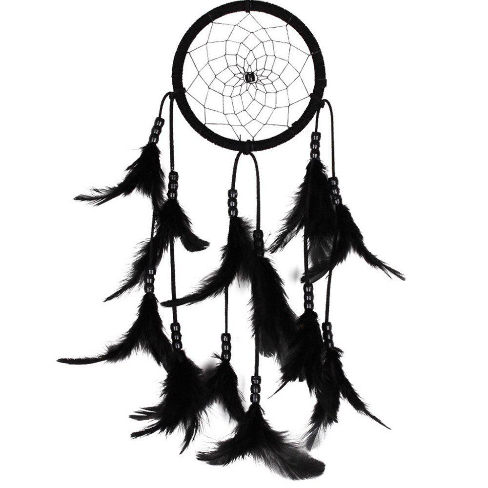 New Feather Crafts Dream Catcher Wind Chimes Handmade  Beads for Wall Hanging Car Home Decor - BLACK