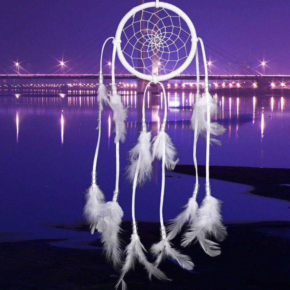 New Feather Crafts Dream Catcher Wind Chimes Handmade  Beads for Wall Hanging Car Home Decor - WHITE