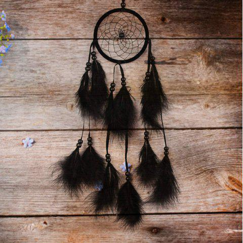 Handmade Dream Catcher Net With feathers Wind Chimes Hanging Carft Gift For Home Decoration - BLACK