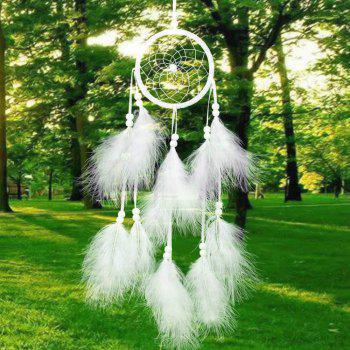 Handmade Dream Catcher Net With feathers Wind Chimes Hanging Carft Gift For Home Decoration - WHITE