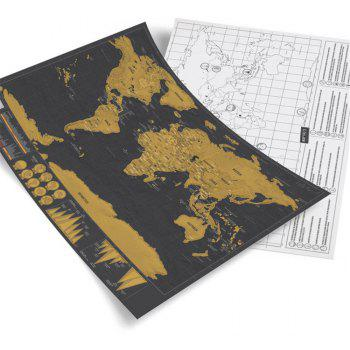 Mini Black Deluxe Travel Scrape World Map Poster Traveler Gift Travel Vacation Wall Sticker - BROWN