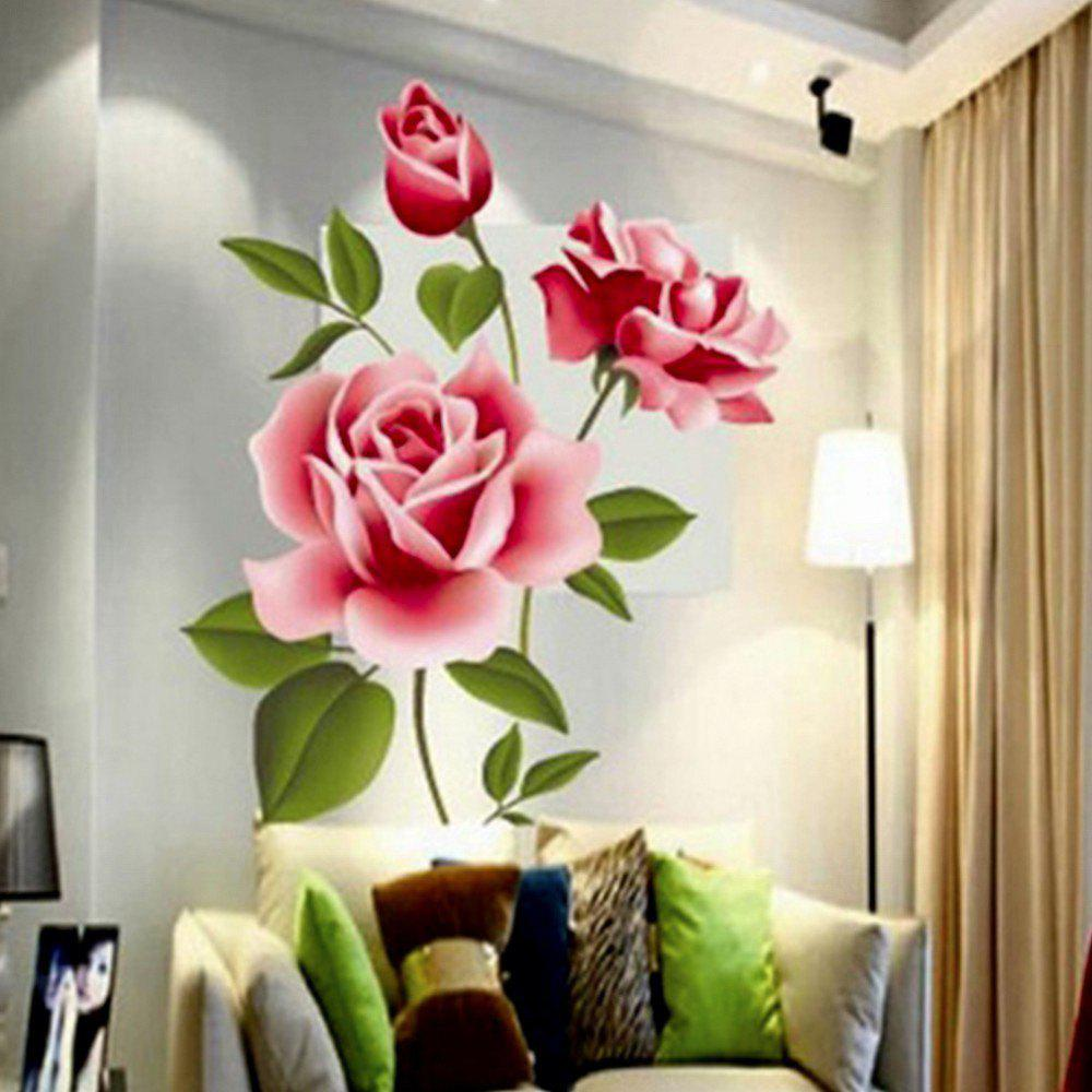 3D Rose Flower Romantic Love Wall Sticker Removable Decal Home Decor Living Room Bed Decals Mother's Day Gift vinyl removable 3d love broken wall sticker